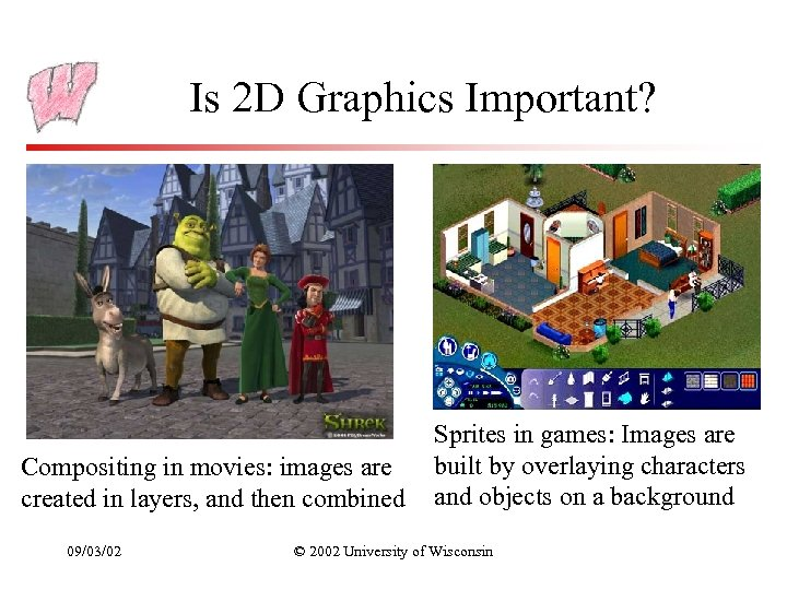 Is 2 D Graphics Important? Compositing in movies: images are created in layers, and