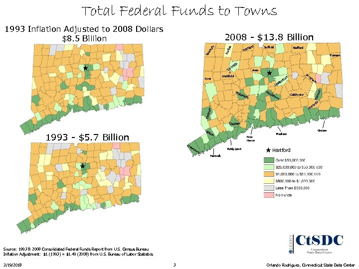 Total Federal Funds to Towns 1993 Inflation Adjusted to 2008 Dollars $8. 5 Billion