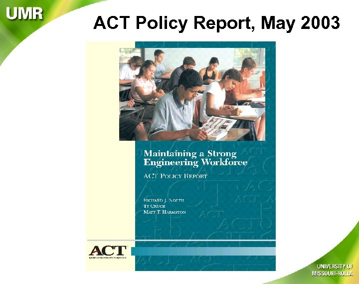 ACT Policy Report, May 2003