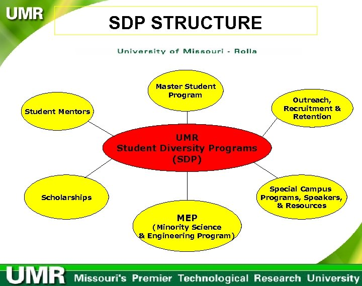 SDP STRUCTURE Master Student Program Student Mentors Outreach, Recruitment & Retention UMR Student Diversity