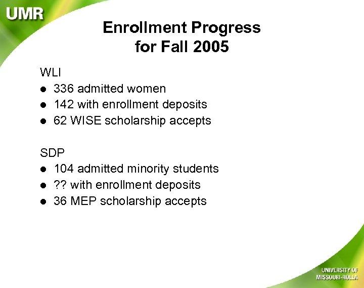 Enrollment Progress for Fall 2005 WLI l 336 admitted women l 142 with enrollment