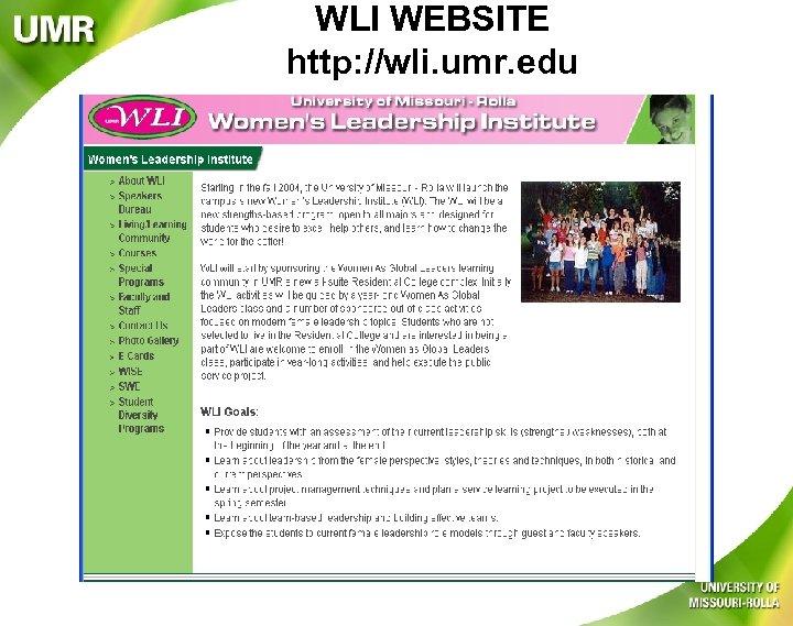 WLI WEBSITE http: //wli. umr. edu