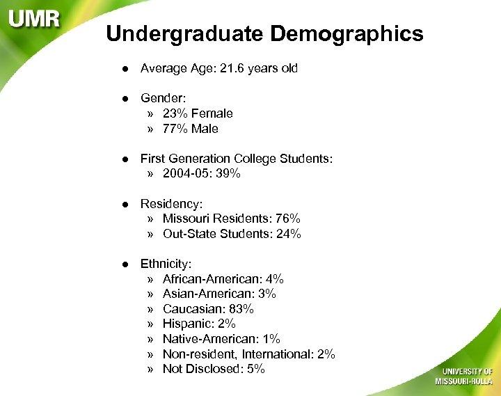 Undergraduate Demographics l Average Age: 21. 6 years old l Gender: » 23% Female