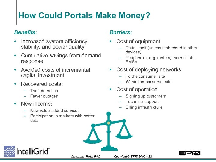 How Could Portals Make Money? Benefits: Barriers: • Increased system efficiency, stability, and power