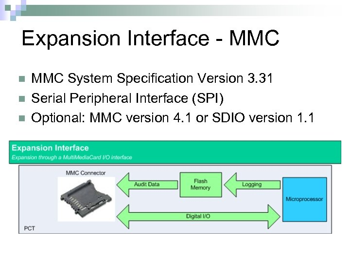 Expansion Interface - MMC n n n MMC System Specification Version 3. 31 Serial