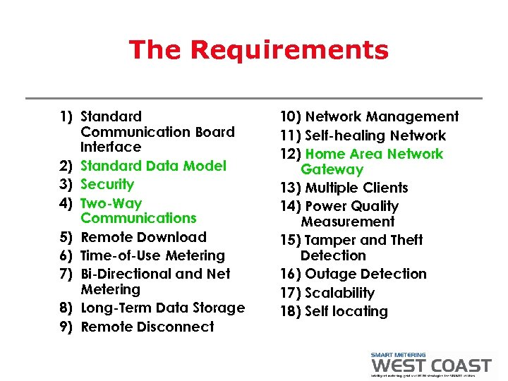 The Requirements 1) Standard Communication Board Interface 2) Standard Data Model 3) Security 4)