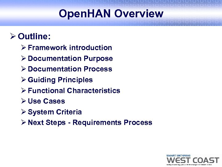 Open. HAN Overview Ø Outline: Ø Framework introduction Ø Documentation Purpose Ø Documentation Process