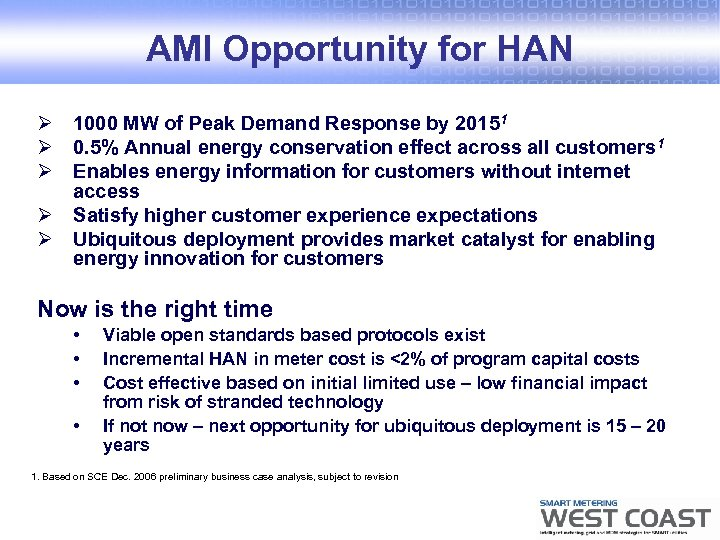 AMI Opportunity for HAN Ø 1000 MW of Peak Demand Response by 20151 Ø