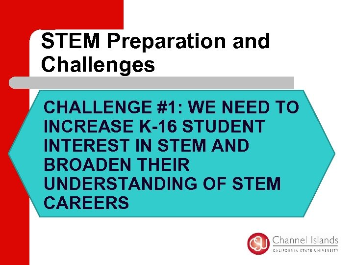 STEM Preparation and Challenges CHALLENGE #1: WE NEED TO INCREASE K-16 STUDENT INTEREST IN