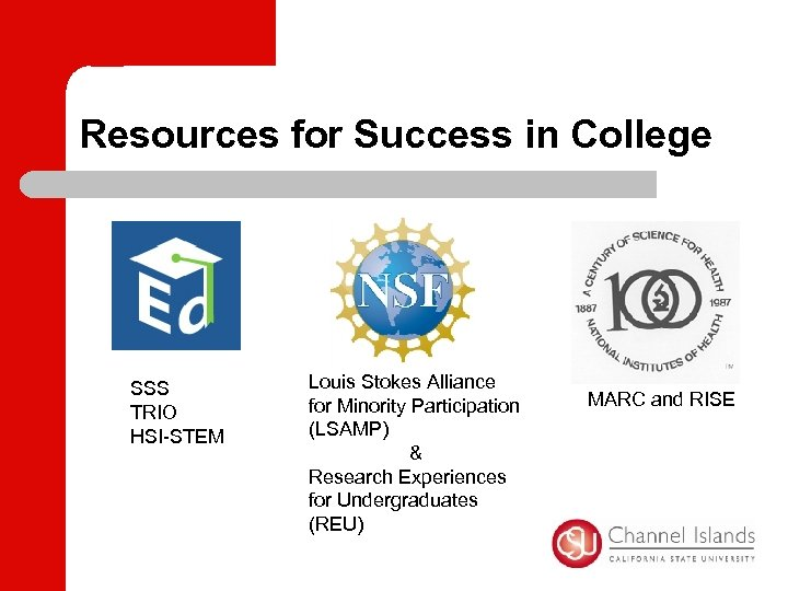 Resources for Success in College SSS TRIO HSI-STEM Louis Stokes Alliance for Minority Participation