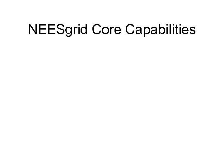 NEESgrid Core Capabilities