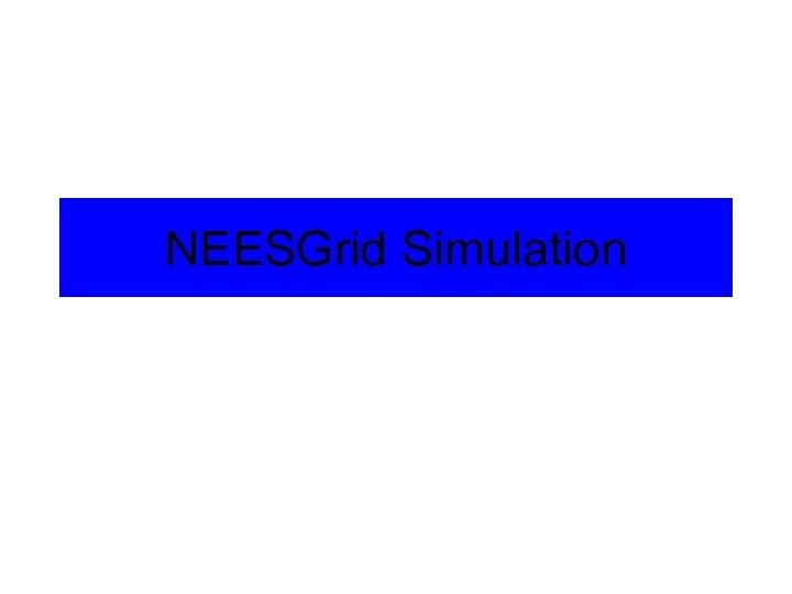 NEESGrid Simulation