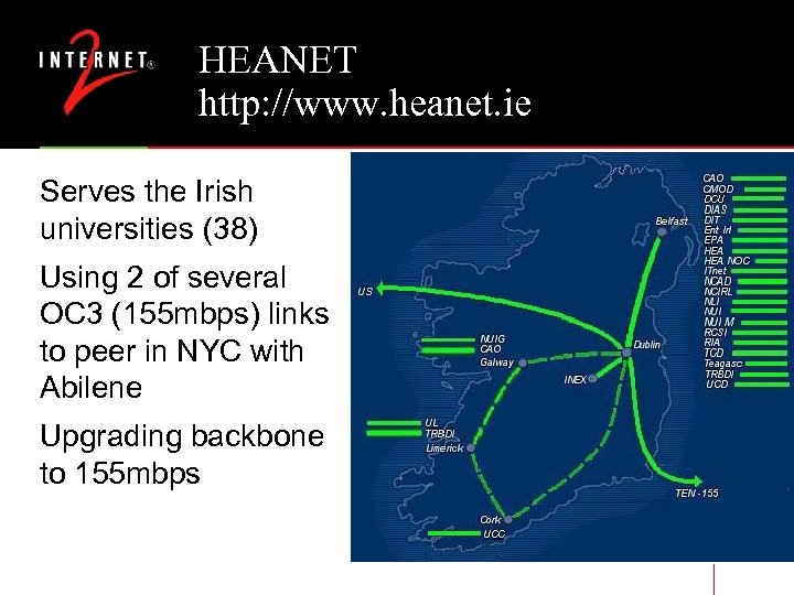 HEANET http: //www. heanet. ie Serves the Irish universities (38) Using 2 of several