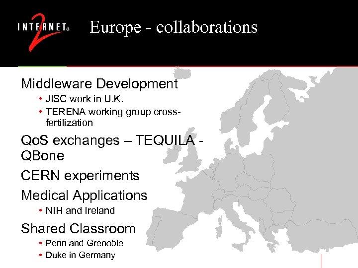 Europe - collaborations Middleware Development • JISC work in U. K. • TERENA working