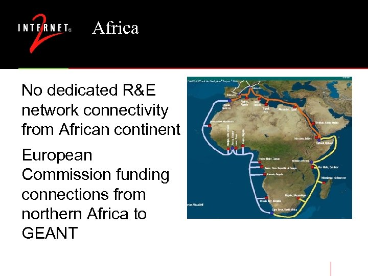 Africa No dedicated R&E network connectivity from African continent European Commission funding connections from