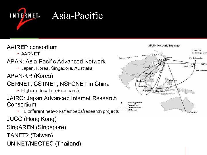 Asia-Pacific AAIREP consortium • AARNET APAN: Asia-Pacific Advanced Network • Japan, Korea, Singapore, Australia