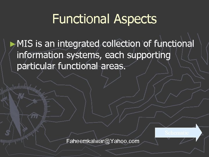 Functional Aspects ► MIS is an integrated collection of functional information systems, each supporting