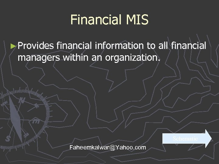 Financial MIS ► Provides financial information to all financial managers within an organization. Schematic