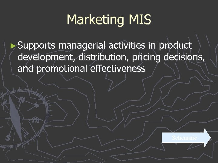 Marketing MIS ► Supports managerial activities in product development, distribution, pricing decisions, and promotional