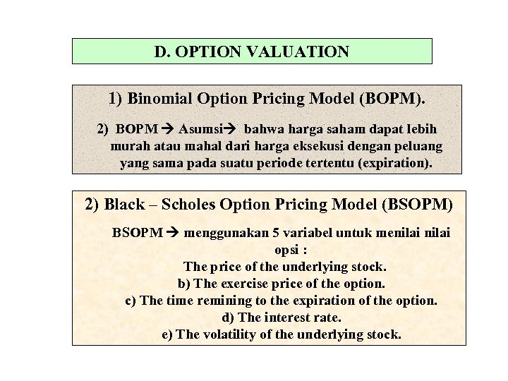 D. OPTION VALUATION 1) Binomial Option Pricing Model (BOPM). 2) BOPM Asumsi bahwa harga