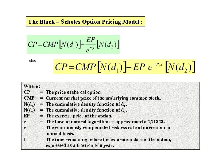 The Black – Scholes Option Pricing Model : atau Where : CP = CMP