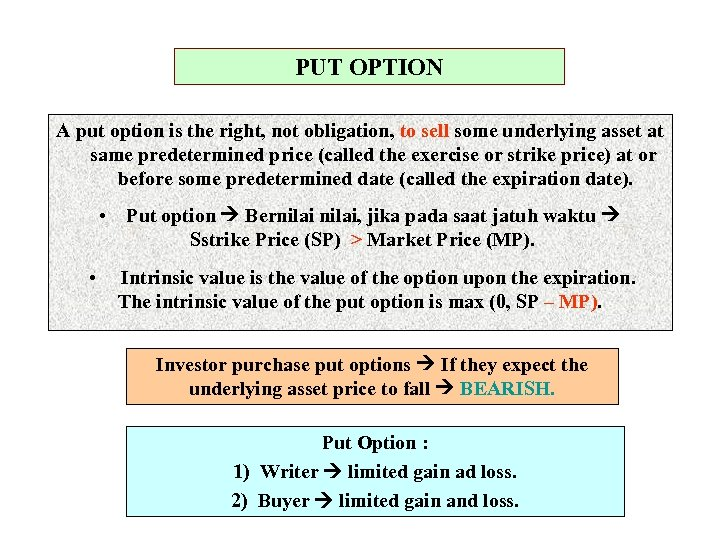 PUT OPTION A put option is the right, not obligation, to sell some underlying