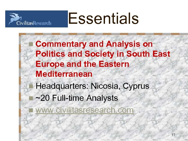 Essentials n Commentary and Analysis on Politics and Society in South East Europe and