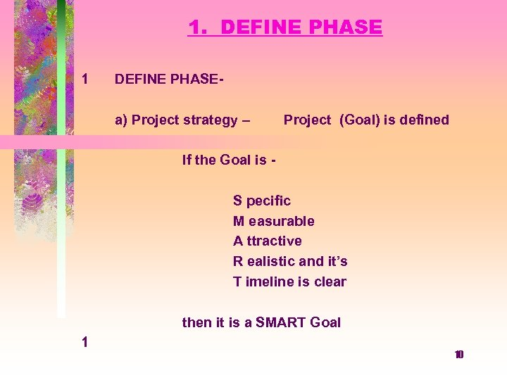 1. DEFINE PHASE 1 DEFINE PHASEa) Project strategy – Project (Goal) is defined If
