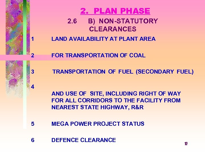 2. PLAN PHASE 2. 6 B) NON-STATUTORY CLEARANCES 1 2 LAND AVAILABILITY AT PLANT