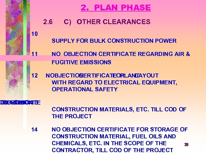 2. PLAN PHASE 2. 6 C) OTHER CLEARANCES 10 SUPPLY FOR BULK CONSTRUCTION POWER