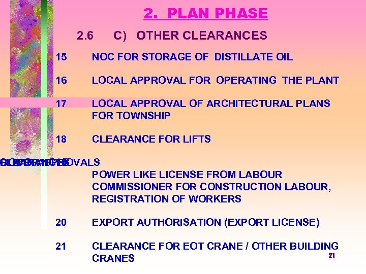 2. PLAN PHASE 2. 6 C) OTHER CLEARANCES 15 NOC FOR STORAGE OF DISTILLATE