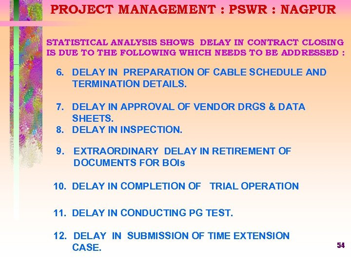 PROJECT MANAGEMENT : PSWR : NAGPUR STATISTICAL ANALYSIS SHOWS DELAY IN CONTRACT CLOSING IS
