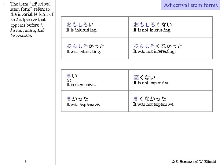 """• The term """"adjectival stem form"""" refers to the invariable form of an"""