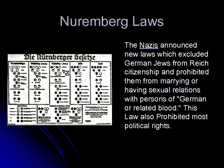 Nuremberg Laws The Nazis announced new laws which excluded German Jews from Reich citizenship