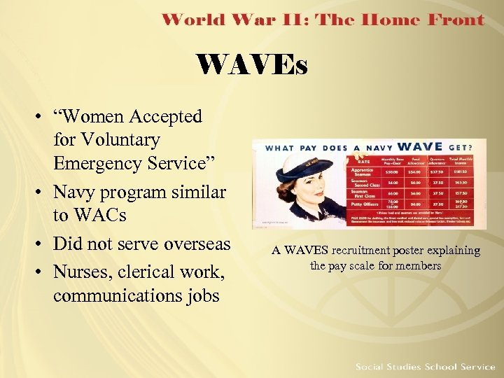 """WAVEs • """"Women Accepted for Voluntary Emergency Service"""" • Navy program similar to WACs"""