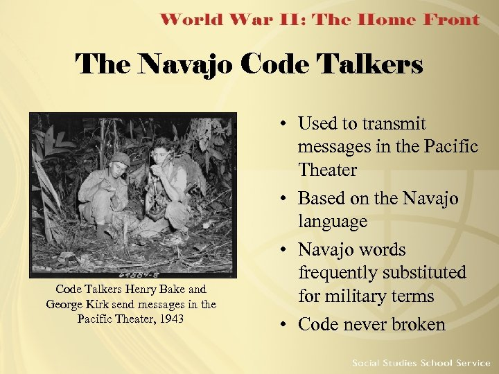 The Navajo Code Talkers Henry Bake and George Kirk send messages in the Pacific