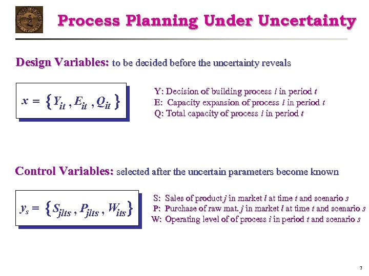 Process Planning Under Uncertainty Design Variables: to be decided before the uncertainty reveals x=