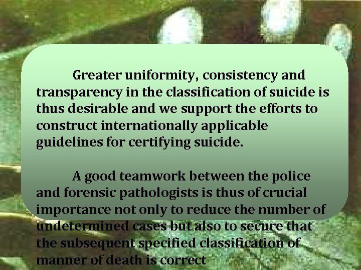 Greater uniformity, consistency and transparency in the classification of suicide is thus desirable and