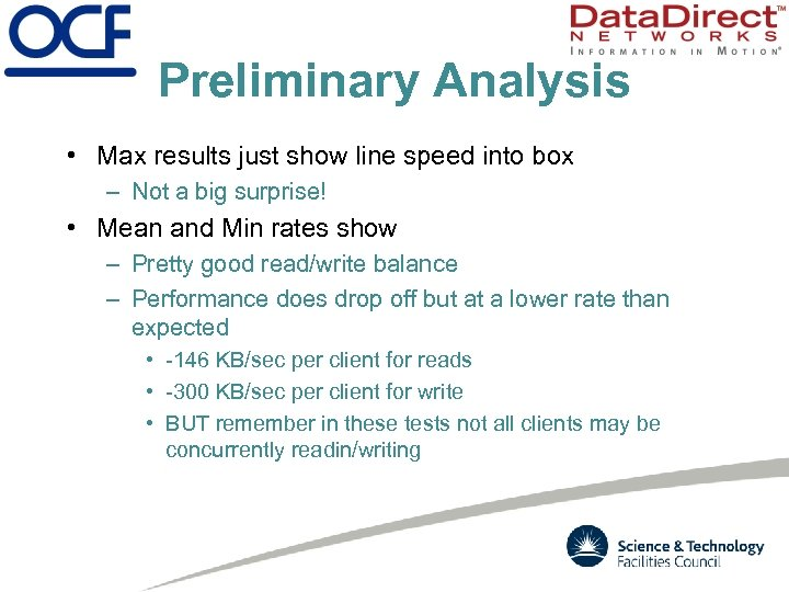 Preliminary Analysis • Max results just show line speed into box – Not a