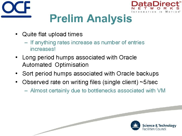 Prelim Analysis • Quite flat upload times – If anything rates increase as number