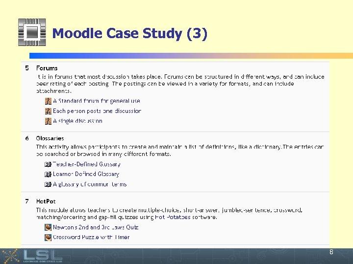 Moodle Case Study (3) Event 8