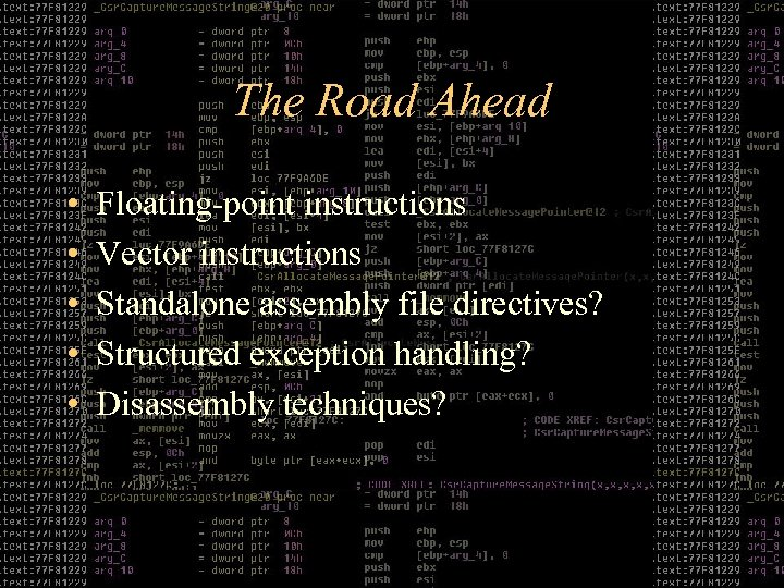 The Road Ahead • • • Floating-point instructions Vector instructions Standalone assembly file directives?