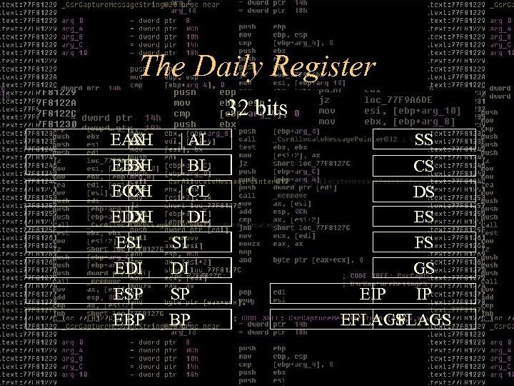 The Daily Register 8/16 bits 32 bits EAX AH EBX BH ECX CH EDX
