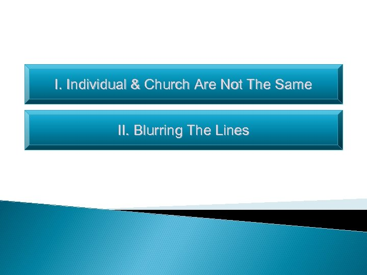 I. Individual & Church Are Not The Same II. Blurring The Lines