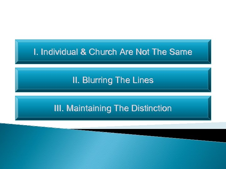 I. Individual & Church Are Not The Same II. Blurring The Lines III. Maintaining