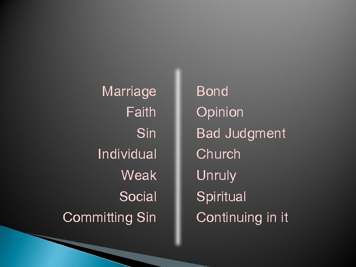 Marriage Faith Sin Individual Bond Opinion Bad Judgment Church Weak Unruly Social Spiritual Committing