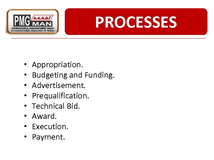 PROCESSES • • Appropriation. Budgeting and Funding. Advertisement. Prequalification. Technical Bid. Award. Execution. Payment.