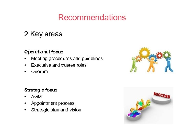 Recommendations 2 Key areas Operational focus • Meeting procedures and guidelines • Executive and