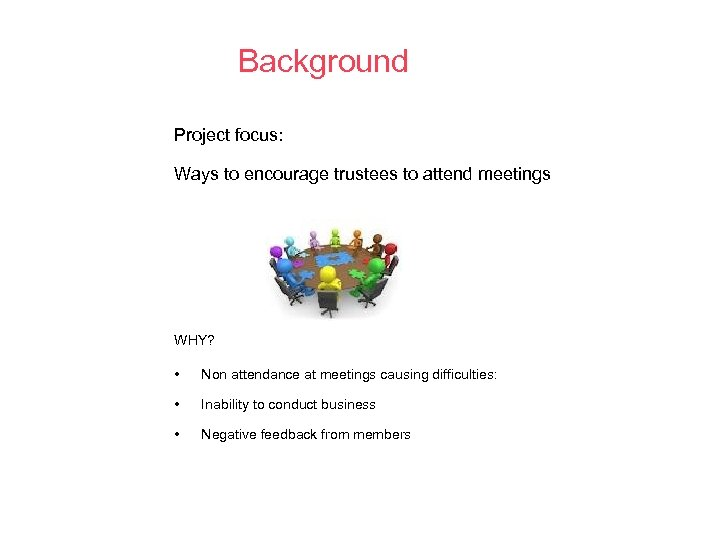Background Project focus: Ways to encourage trustees to attend meetings WHY? • Non attendance