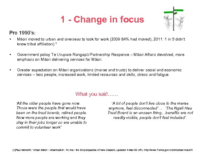 1 - Change in focus Pre 1990's: • Māori moved to urban and overseas